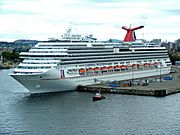 CARNIVAL BREEZE CRUISE SHIP - Stats according to Ship Mate mobile app: Year Built: 2012 Passengers: 3,690 Crew: 1,386 Weight: 130K tons Length: 1,003 feet Speed: 26 mph Cost: 740 million