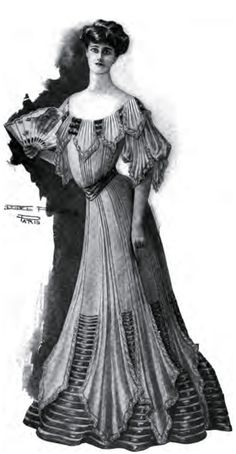 Holiday Fashion 1904: There will always be, so long as the world lasts, lovers of fine clothes and women who delight in conspicuous dress and in being seen in public places gowned in such fashion as to attract the attention of the general public. But these women are no longer considered well gowned, that title being unanimously bestowed upon the woman whose costume bears the mark of a more quiet and refined taste. SIMPLE EVENING GOWN of soft silk in a plain rose color; lace edges on the…