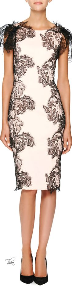 Marchesa Resort 2015 #myStitchAppeal black lace trimmed cream sheath