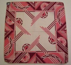 Vintage Pink White Red Geometric Deco Hankie. via Etsy.