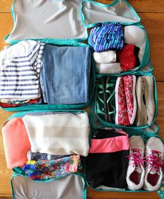 Pack your luggage with packing cubes. Organize and quickly identify your belongings when you're on the go.