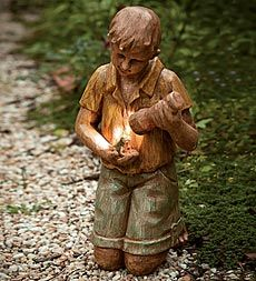 I'm really peculiar about things that are lighted. I never want to forsake design for the sake of shedding a little light on the subject. This statue is perfect. A precious little lad holds a flashlight so that he can check out his capture--a little toad! Find it at Plow and Hearth.