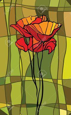 Multicolore Vitrail Avec Motif Floral Clip Art Libres De Droits , Vecteurs Et Illustration. Image 13492429.