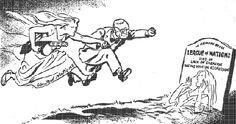 This cartoon by the British cartoonist David Low, from the Daily Herald (30 Jun 1950), shows Truman and the United Nations rushing to Korea's aid.
