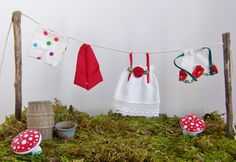 Gnome Garden Accessories Clotheslines Fairy Fantasy Garden Set of Four Items - Boxers, Gnome Hat, Nightgown, and Apron, Miniature 3-D Clothes