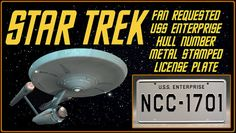 STAR TREK FAN-REQUESTED:  The USS Enterprise NCC-1701 License Plate is a must have for any Star Trek fanatic! Each plate is brand new, made in the USA, and individually shrink-wrapped. We ship both domestic and international. All plates are in stock and shipped within one business day.  Product Features • Correct font that appears on the hull of the Starship Enterprise • Correct gray color of the ship • Metal stamped / embossed aluminum • Shrink-wrapped • Standard USA plate dimensions (1...