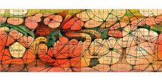 """Flat artistic map of canals of Mars  BOOK: """"Exploring Mars"""" - Illustration by Lowell Hess, Based on Antoniadi's Observations"""