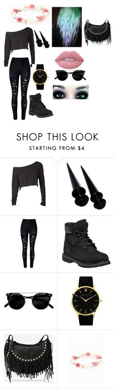 """""""✨☀️"""" by marialk-1 on Polyvore featuring WithChic, Timberland, Larsson & Jennings, Valentino, Missguided and Lime Crime"""