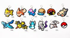 Pokemon Hama Perler beads keyrings: 151 original Pokemon