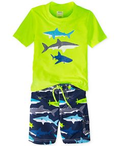 Carter's Little Boys' 2-Piece Shark Rashguard & Swim Trunks