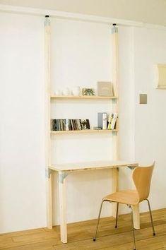 「PILLAR BRACKET」「SHELVING STAY」と組み合わせると、棚と机が一体化した便利な家具を作ることができます。