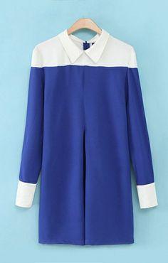 Color Block Lapel Chiffon Dress