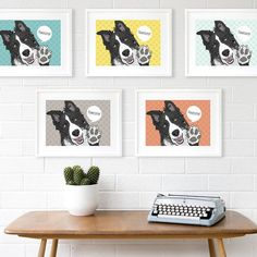 Jazz up your walls with my 'Pawesome' Border Collie pop art print... it's available in five snazzy colours and can be personalised with your own words #bordercollie #pawesome #dogs #dogart