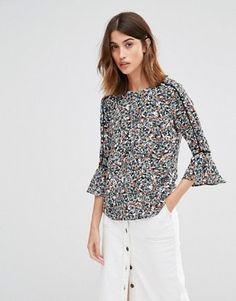 38bad42571c18 Image 1 of Warehouse Ditsy Floral Tee Bell Sleeve Crop Top