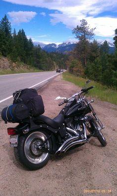 Hubby's Bike in Colorado.... Harley Davidson......