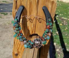 Copper Horseshoe Concho, Teal Agate Horseshoe, Good luck Horseshoe, Western Decor Horseshoe by TooMiniShoes on Etsy