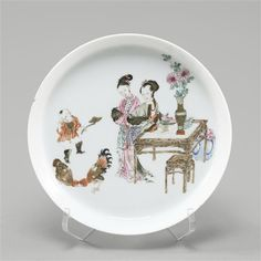 Jeunes femmes regardant un combat de coqs, 18e siècle, dynastie Qing (1644-1911)