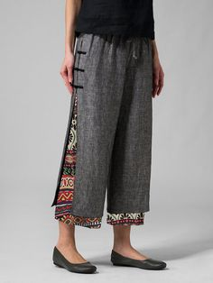 Gorgeous Frog Button Ethnic Print Layered Pants For Women - NewChic Mobile Fashion Pants, Fashion Dresses, Ethnic Print, Themed Outfits, Color Shorts, Printed Pants, Mode Inspiration, Refashion, Wide Leg Pants