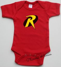 Red Robin One Piece Superhero Infant Creeper by PhunnieWunsies