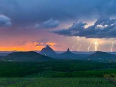 What an amazing photo… Glass House Mountains, Queensland, sunset storm! Pictures Of Lightning, Storm Pictures, Coast Australia, Australia Travel, Queensland Australia, Glasshouse Mountains, Gold Coast Queensland, Mountain Pictures, Carnival Rides