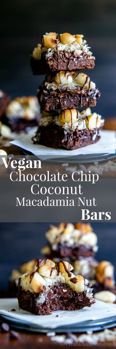 Chocolate cookie base topped with chocolate chips, coconut, macadamia nuts and… Vegan Recipes | Vegetarian Recipes