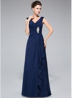 Sheath/Column V-neck Floor-Length Jersey Mother of the Bride Dress With Beading Sequins Cascading Ruffles (008042328) - JJsHouse