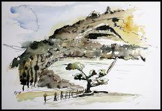Watercolor-Ink-Allendorf-Quarry-Winter-Kleckser