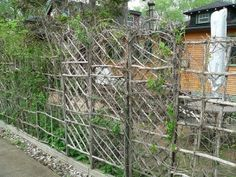 play structures made of branches | ... homemade trellis wall was made with twigs to create nice piece