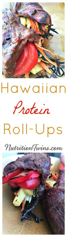 Hawaiian Protein Roll-Ups   Only 177 Calories   Lean & Grilled Great way to get Veggies   Super Satiating 22 g protein  For MORE RECIPES, Fitness & Nutrition Tips please SIGN UP for our FREE NEWSLETTER www.NutritionTwins.com