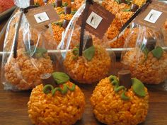Halloween Pumpkin Rice Krispie Treats, use tootsie roll for stem and frosting for leaves/vines