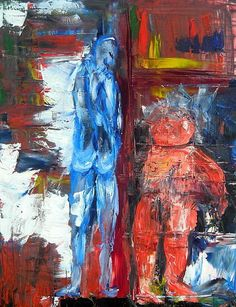 Stand by me Öl Leinwand 60x 80 cm Spachtel http://expressionist.jimdo.com #actionmaler