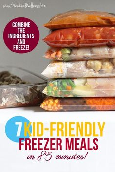 7 Kid-Friendly Freezer Meals in 85 Minutes | Includes a .pdf with ingredients and direction.