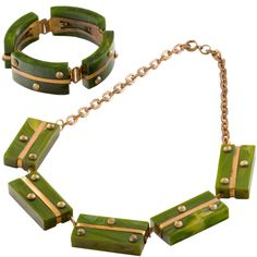 For Sale on - An Outstanding and Rare Art Deco Bakelite Demi Parure comprising a stunning Green Marbelized Bakelite and Brass Bracelet with matching Necklace. Art Deco Ring, Art Deco Jewelry, Jewelry Design, Elsa Schiaparelli, Plastic Jewelry, Sea Glass Jewelry, Antique Jewelry, Vintage Jewelry, Vintage Necklaces