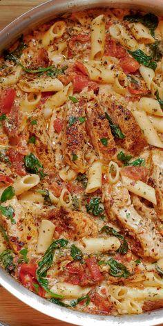 Chicken Bacon Spinach Pasta, Bacon Pasta Recipes, Creamy Chicken Pasta, Creamy Tomato Sauce, Pasta Dinner Recipes, Chicken Pasta Recipes, Healthy Pasta Recipes, Milk Recipes, Cooking Recipes