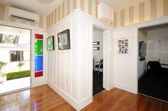 Entrance way, wooden paneling painted white, heritage stripe wallpaper, wooden floors Paneling Painted, Stripe Wallpaper, Entrance Ways, St Albans, Wooden Flooring, Floors, Master Bedroom, Entryway, Lounge
