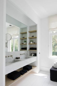 Modify the built in shelving to fit in stud-depth for built in open medicine cabinet area.