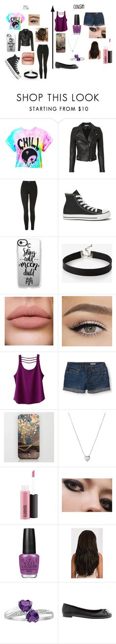 """""""Me and my Cousin"""" by panicatthedisco16 ❤ liked on Polyvore featuring IRO, Topshop, Converse, Casetify, Express, Kavu, Aéropostale, Links of London, OPI and Banana Republic"""
