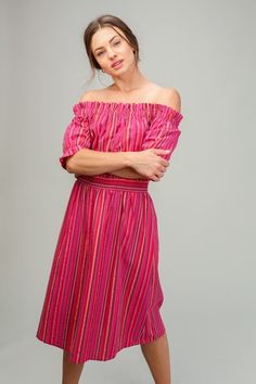 5c28ac4e2c Lumiere - Young Contemporary Off-the-shoulder woven multi stripe dress.