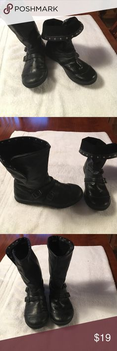 Rocket Dog Moto Boots Black faux leather boots. Cute and stylish split cuff with silver grommets-- fold down or wear up. Cute with jeans , leggings, tights and a dress or skirt. Black corduroy lining. Sweet wardrobe addition !! Shoes Combat & Moto Boots