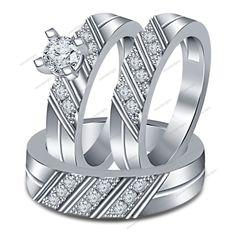 14k White Gold FN 925 Silver 1.70ct Sim Diamond Wedding Bridal Ring Trio Set NEW #WeddingEngagementAnniversaryBrithdayPartyGift