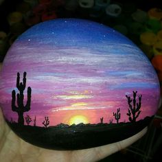 Sunset in the desert rock.