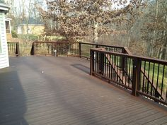 New deck with Trex composite maintenance free decking. Southern Porches, New Deck, Outdoor Living, Outdoor Decor, Screened In Porch, Porch Ideas, Decking, Backyard Landscaping, Planters
