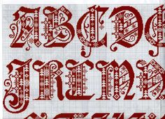 cross stitch gothic - scandinavian - christmas alphabet in 4 parts #1