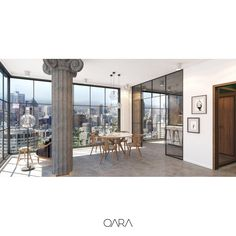 Apartment interior design with glass facade system. Kitchen with glass doors. Marble table and column. www.qara.work