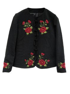 Productos | Tejidos | Salta Trading Embroidery On Clothes, Shirt Embroidery, Embroidered Clothes, Silk Ribbon Embroidery, Wedding Cardigan, Différents Styles, Embroidered Sweatshirts, Velvet Fashion, Cute Jackets