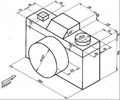Photo camera with isometric dimension. Isometric Sketch, Autocad Isometric Drawing, Isometric Drawing Exercises, Isometric Shapes, Basic Drawing, Technical Drawing, Drawing Heart, Bilder Download, Orthographic Drawing