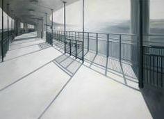 MARIA TEMNITSCHKA, Auf der Fußgängerbrücke, 2009, Öl/Leinen, 80 x 110 cm