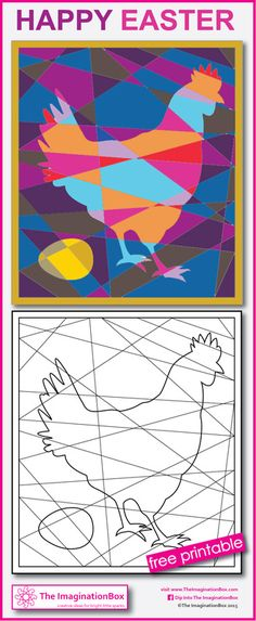 hidden hen colouring sheet