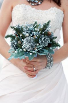 A sparkling bridal bouquet for a winter wedding.