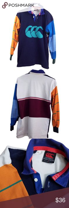 '90s Canterbury of New Zealand Striped Rugby Shirt ~~Friday Sale! Add this Item to a bundle with another item with the BOGO tag and receive and offer with 1/2 off the highest priced item.~~  Wonderfully Ugly! Canterbury of New Zealand NZ Multi Color Block Striped Long Sleeved Rugby Shirt  Vintage 1990s perhaps  Size  (M) Medium  Made in New Zealand Canterbury of New Zealand Shirts Polos